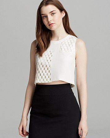 Elizabeth and James Vinique Coated Lace Top