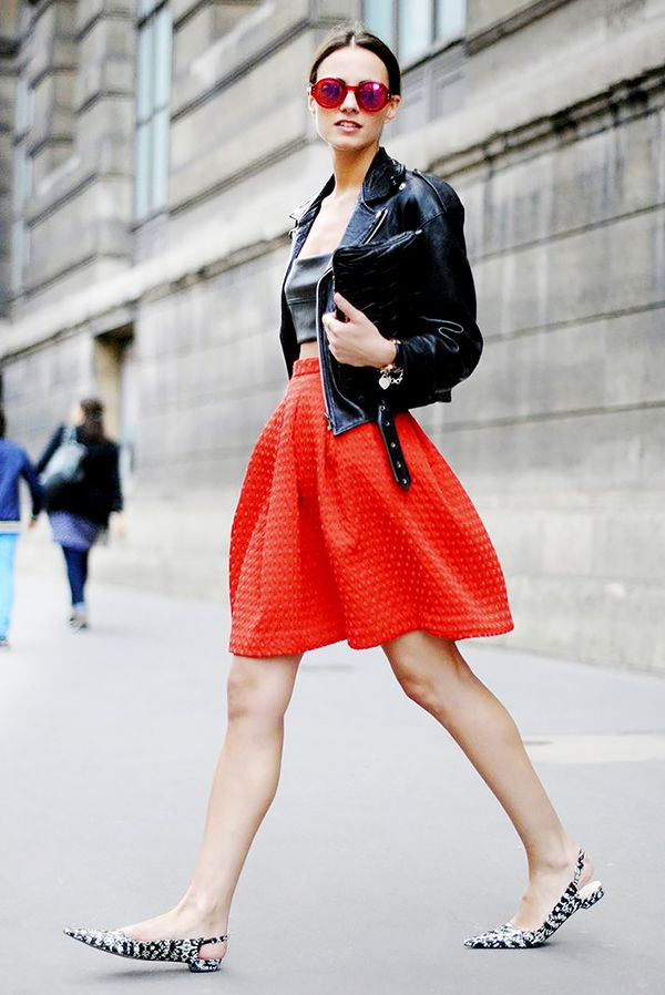 Alternative: If a LRD isn't for you, try wearing a red skirt with a black leather jacket. If you shy away from colour, try red lipstick instead for the same effect.
