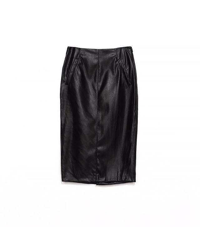 Zara Faux Leather Pencil Skirt With Pockets