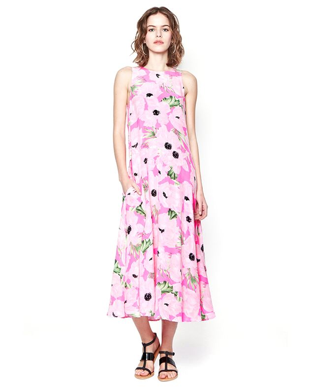 French Connection Holiday Poppy Silk Maxi Dress