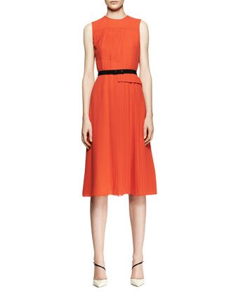 Victoria Beckham Collection Sleeveless Mixed-Pleat Midi Dress
