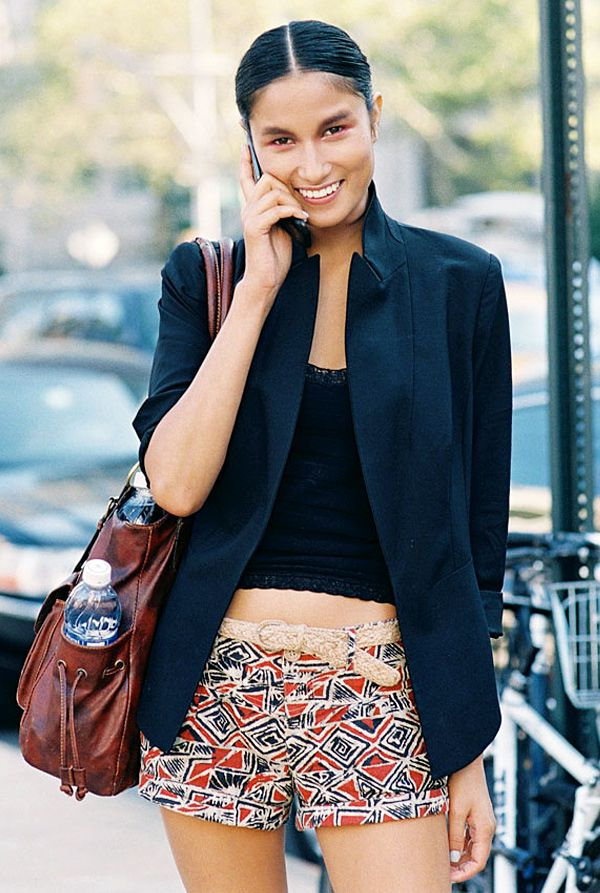 Tip #8: If you dare to bare your midriff, this is the look for you. Snag a pair of tribal-print shorts and wear them with a blazer, crop top, and a woven belt. Where to wear this eye-catching...