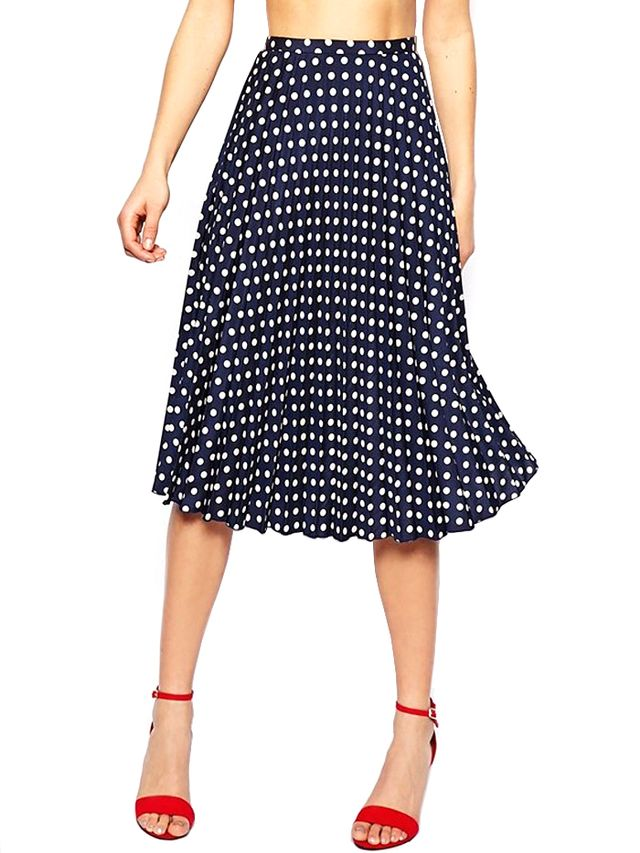 ASOS Spot Pleat Midi Skirt