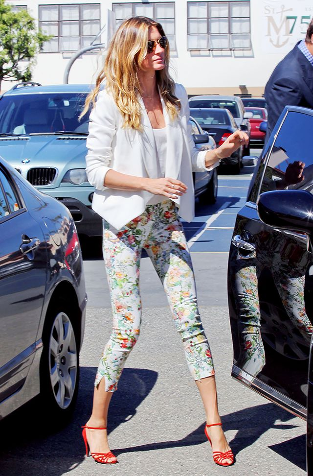 Add a fresh, seasonal twist to a blazer and skinny jeans by making the former white and the latter floral print.