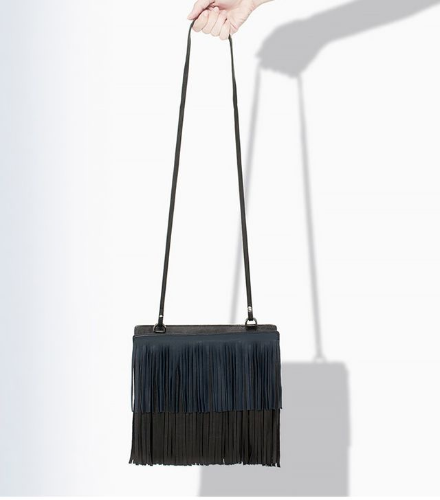 Zara Leather Messenger Bag With Fringe