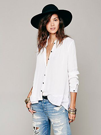 Free People Ruffled Hem Buttondown