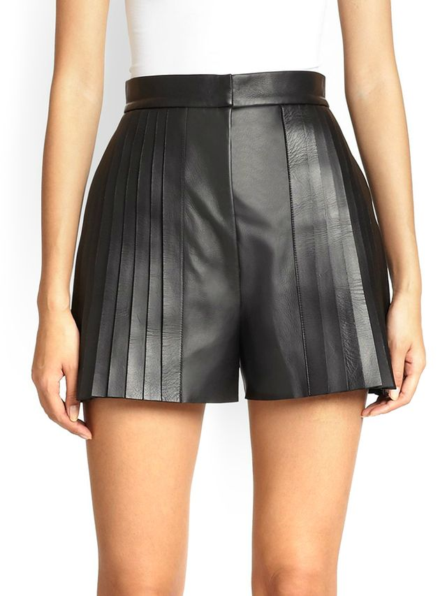 Alexander Wang Pintuck Pleated Leather Shorts