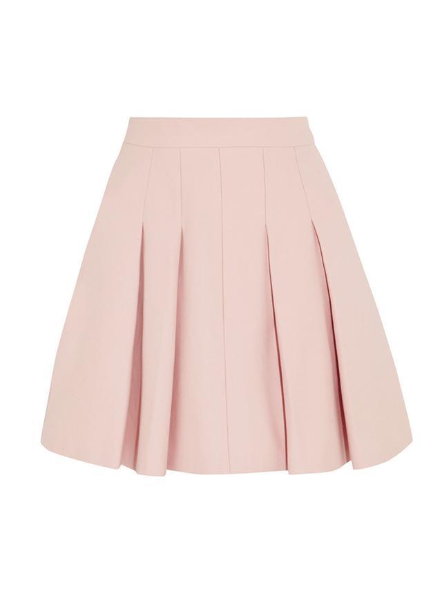 RED Valentino Pleated Stretch-Cotton Mini Skirt