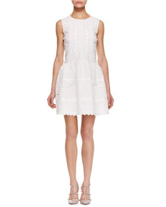 Red Valentino Sleeveless Dress with Front/Back Pintucks