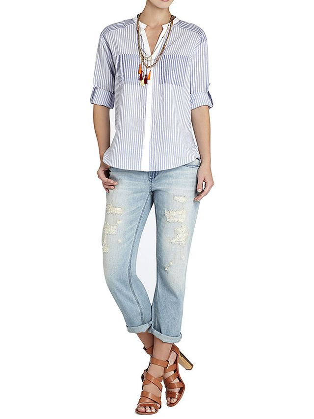 BCBGMAXAZRIA Randi Long Sleeve Pocket-Front Shirt