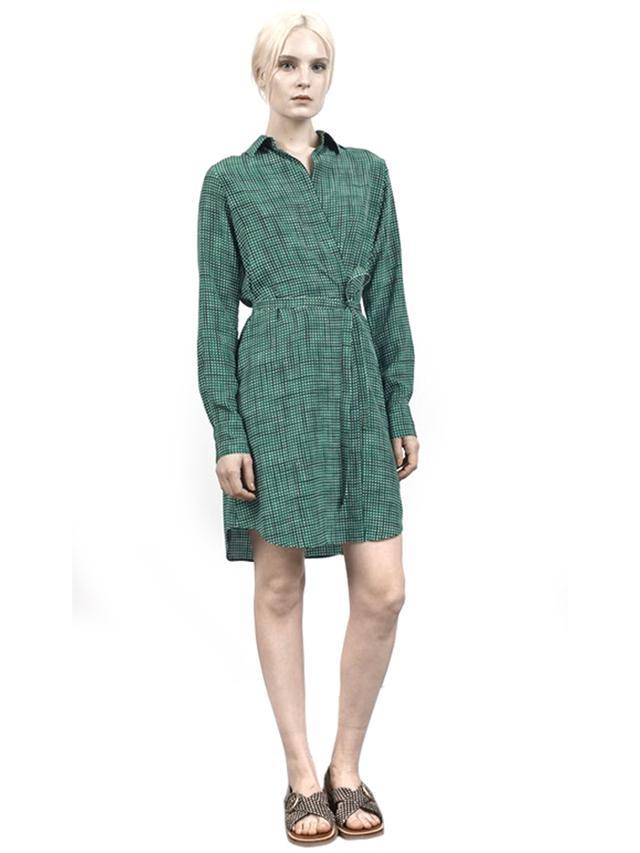 Marc Jacobs Sketch Check Crepe De Chine Wrap Dress