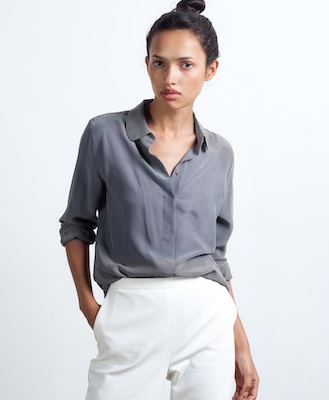 Everlane The Silk Round Collar Blouse