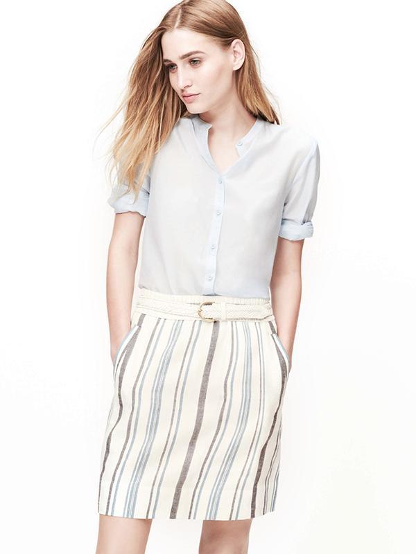 Loft Striped Linen Cotton Skirt