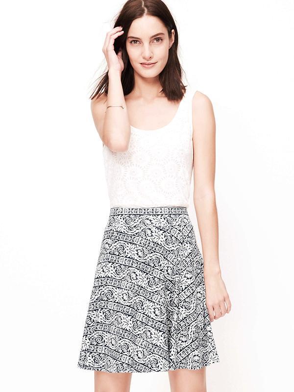 Loft Scroll Print Knit Circle Skirt