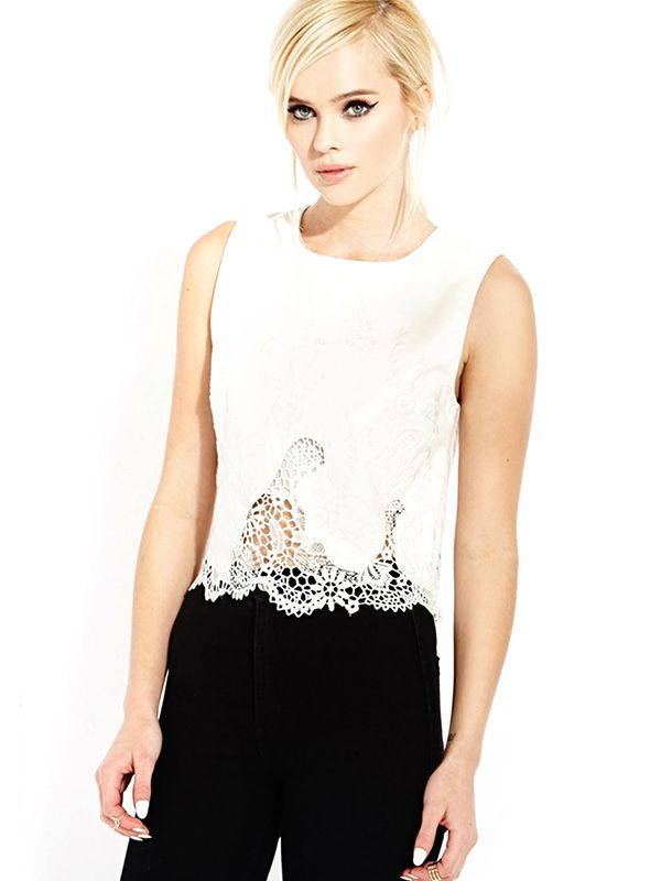 Forever 21 Pretty Tough Faux Leather Top in White