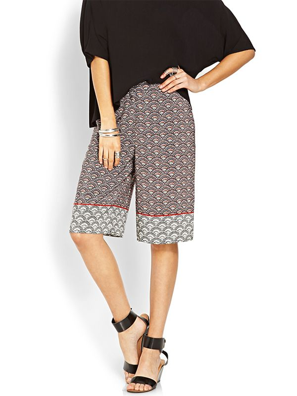 Forever 21 Clamshell Print Culottes