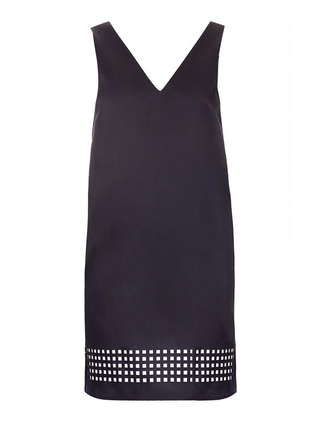 Topshop Laser-Cut Satin Shift Dress