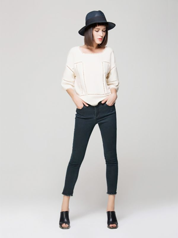 Front Row Shop Top with Cut Out Trim