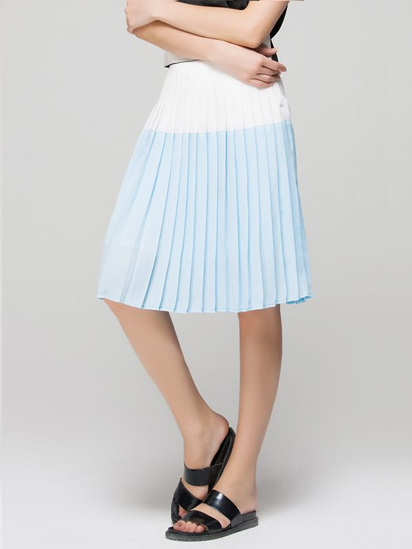 Front Row Shop Skater Skirt with Pleats in Color Block