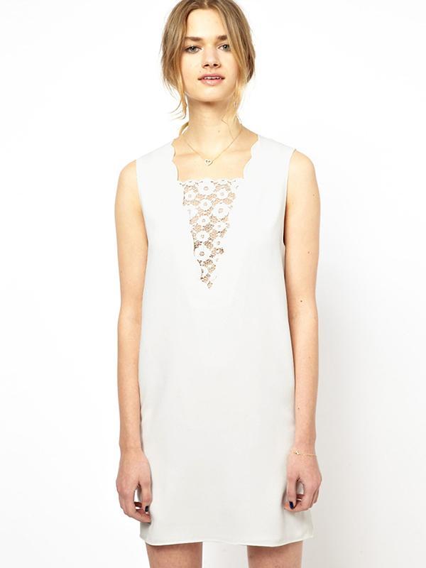 Vanessa Bruno Athé Shift Dress with Scalloped Neckline