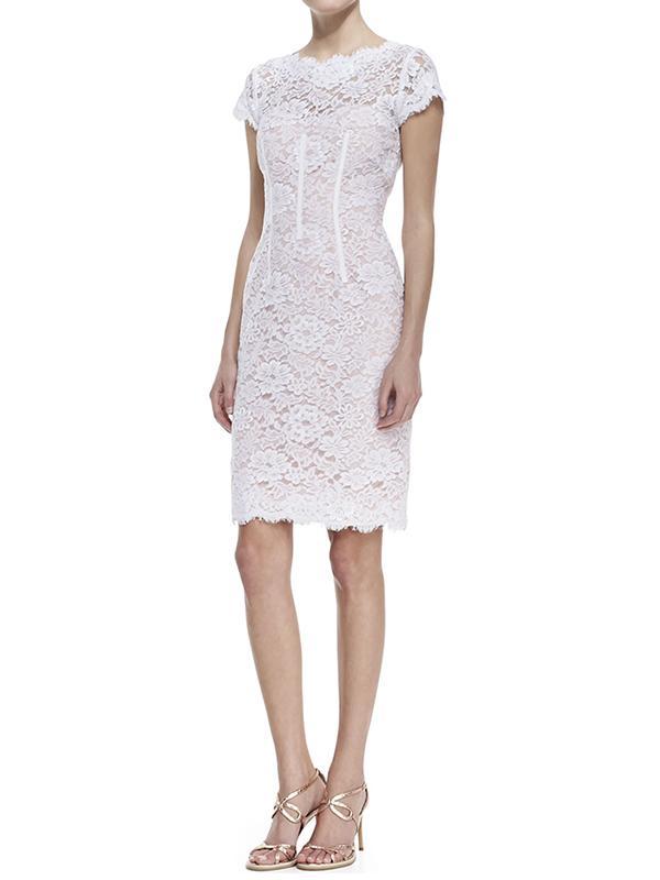 Monique Lhuillier Cap-Sleeve Lace Sheath Cocktail Dress