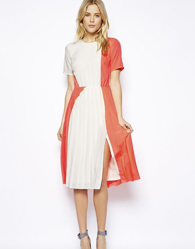 ASOS T-shirt Pleated Midi Dress in Coral