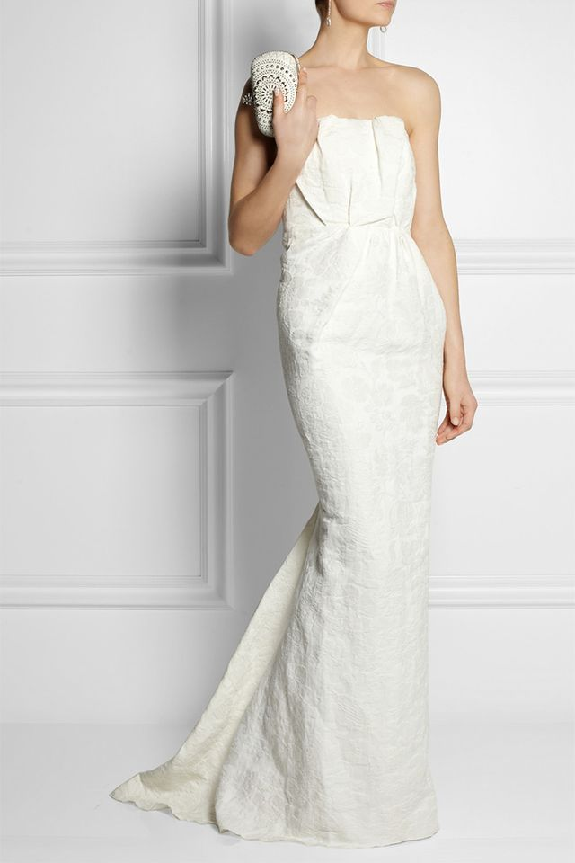 Lanvin Strapless Floral-Brocade Linen-Blend Gown