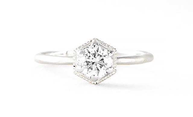Satomi Kawakita Platinum Hexagon Diamond Ring
