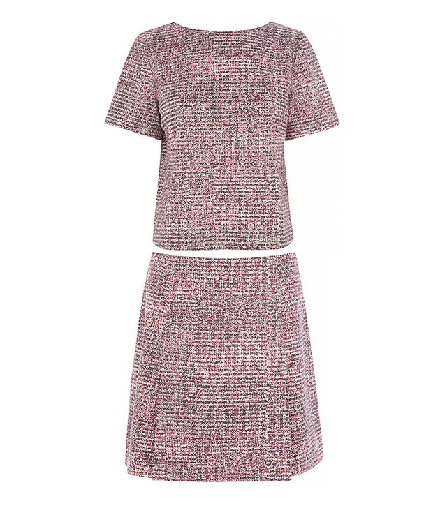 Warehouse Scratchy Print Top and Skirt