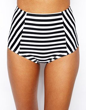 ASOS Mix & Match Stripe High Waist Bikini Bottom