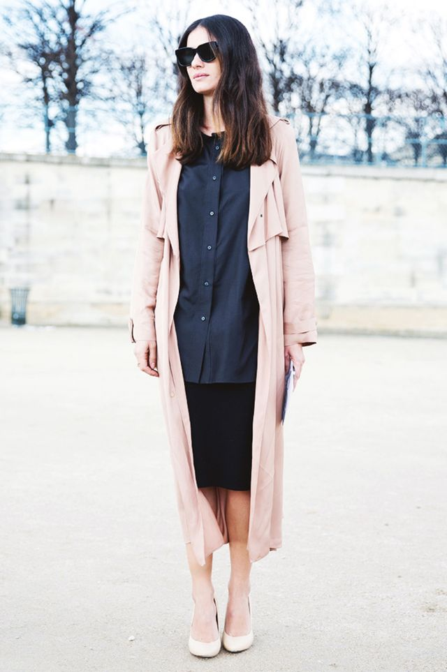 Long Trench Coat + Pencil Skirt + Nude Pumps