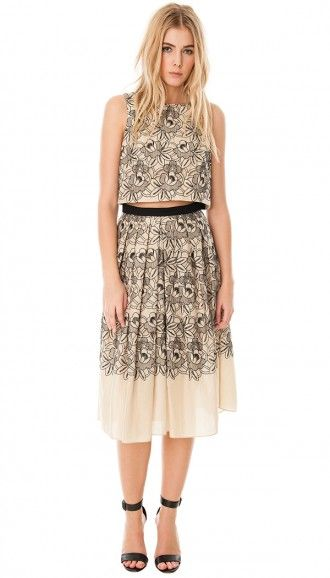 Tibi Embroidery Eyelet Crop Top and Full Skirt