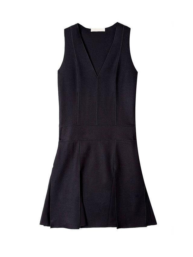 Vanessa Bruno Drape De Laine Drop Waist V-Neck Dress