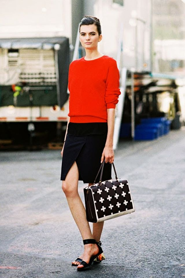 Bright Sweater + Foldover Skirt + City Sandals