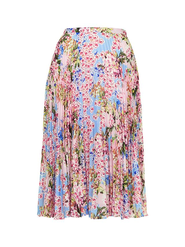 Topshop Floral Pleat Midi Skirt