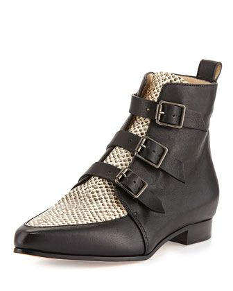 Jimmy Choo Marlin Snake-Print Ankle Boots