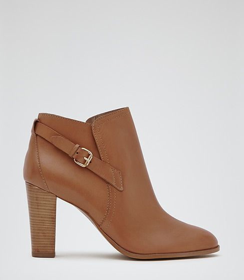Reiss Carter Tan Side Buckle Ankle Boots