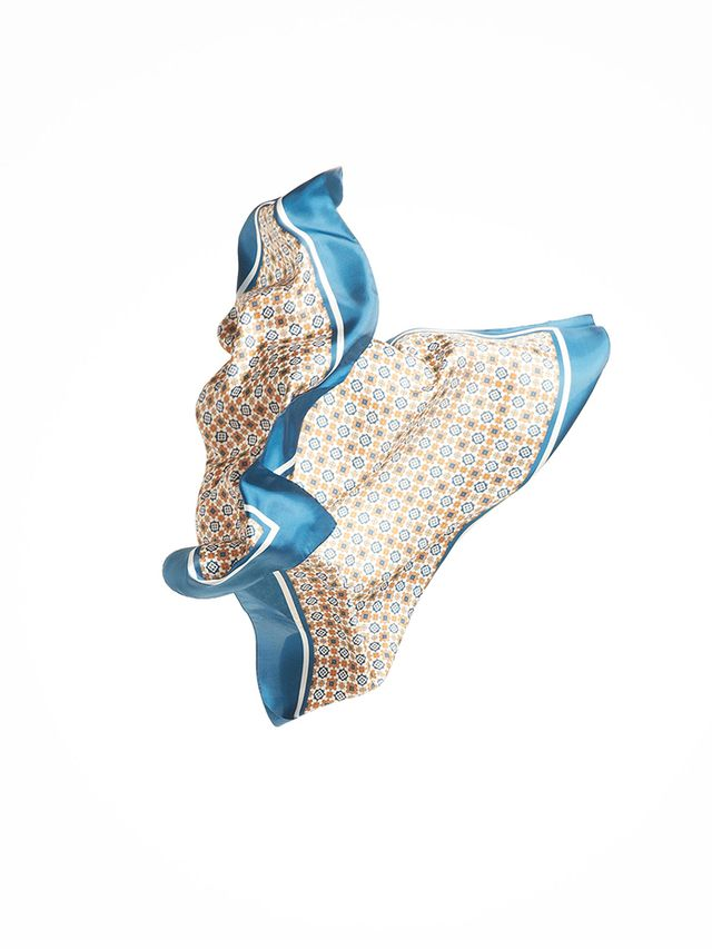 Massimo Dutti Geometric-Print Silk Handkerchief