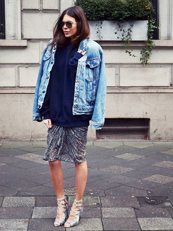 You can get away with wearing your fancy pieces for daytime. Simply top them with a denim jacket!