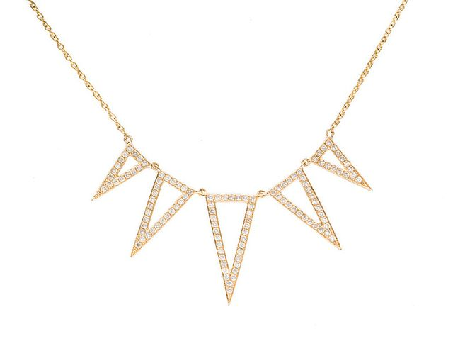 EF Collection Diamond Open 5 Spike Necklace