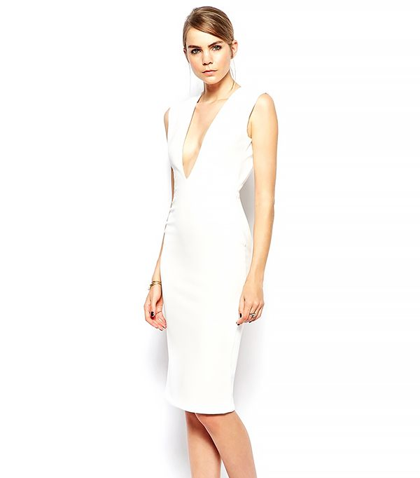 Solace London Byredo Knee Length Dress With Plunge Neck