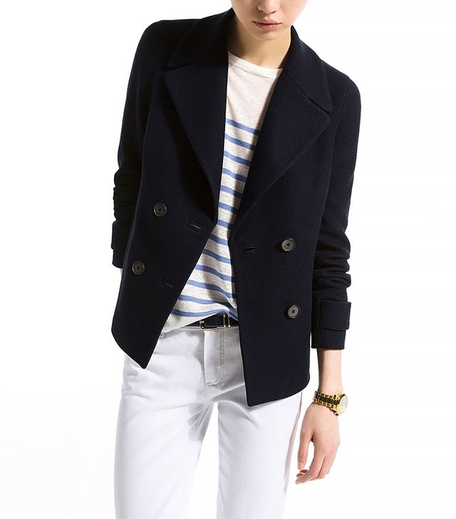 Massimo Dutti Short Double-Breasted Navy Coat