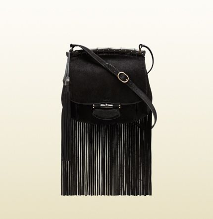 Gucci Nouveau Fringe Suede Shoulder Bag