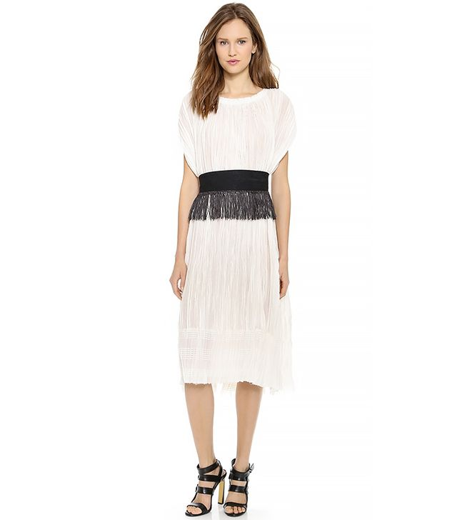 10 Crosby Derek Lam Pleated Dress in Soft White
