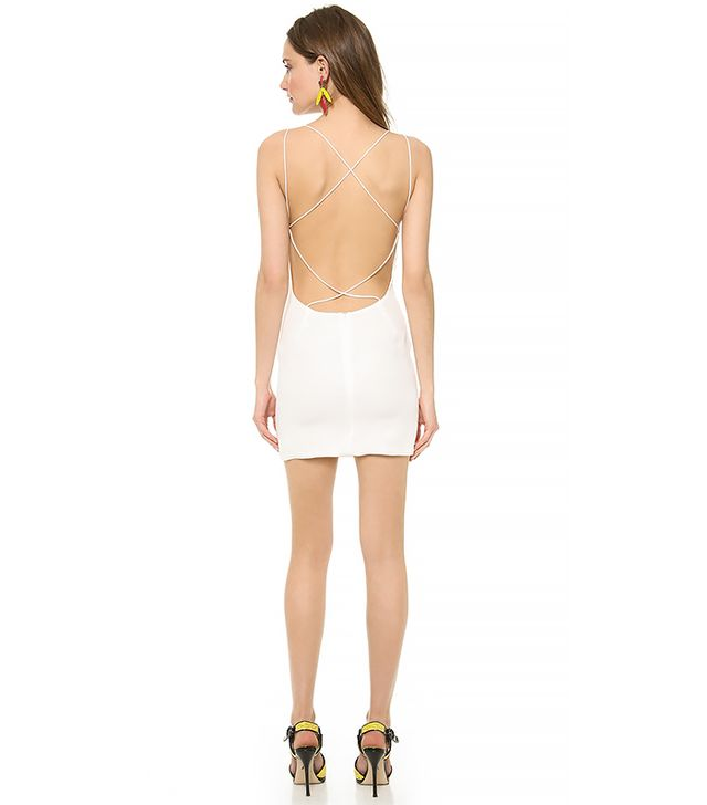 Olcay Gulsen Cross Back Mini Dress in White