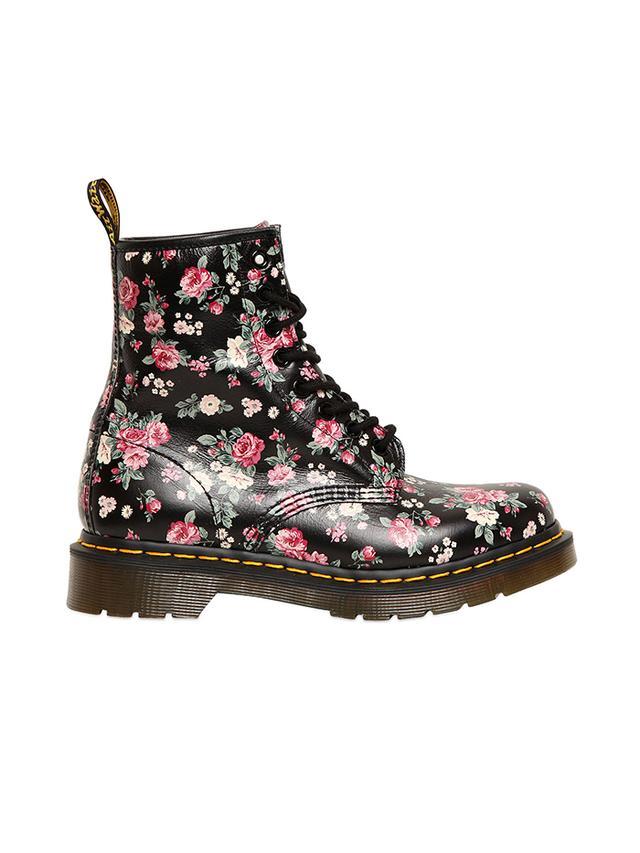 Dr. Martens Floral-Print Core Leather Boots