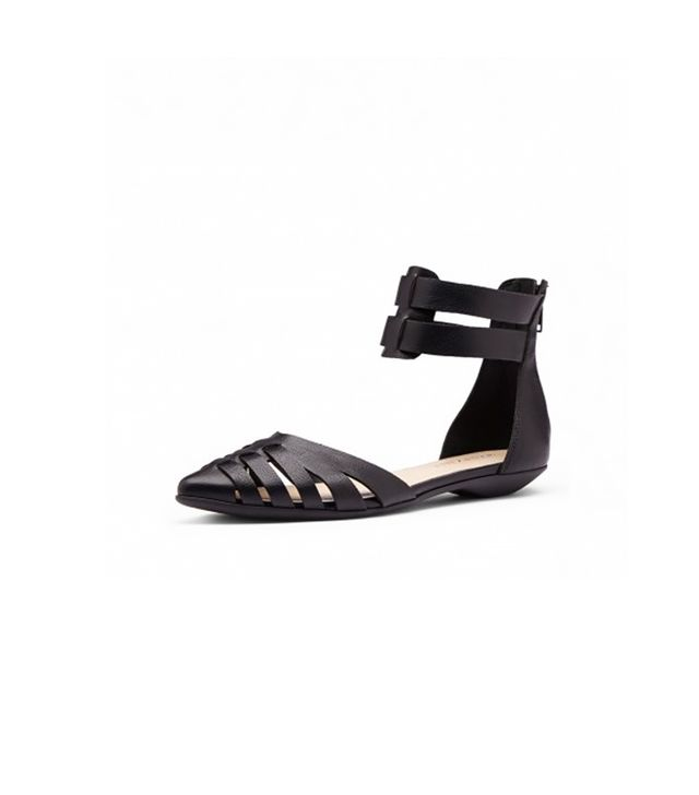 Zuzana Black Faux Leather Sandals