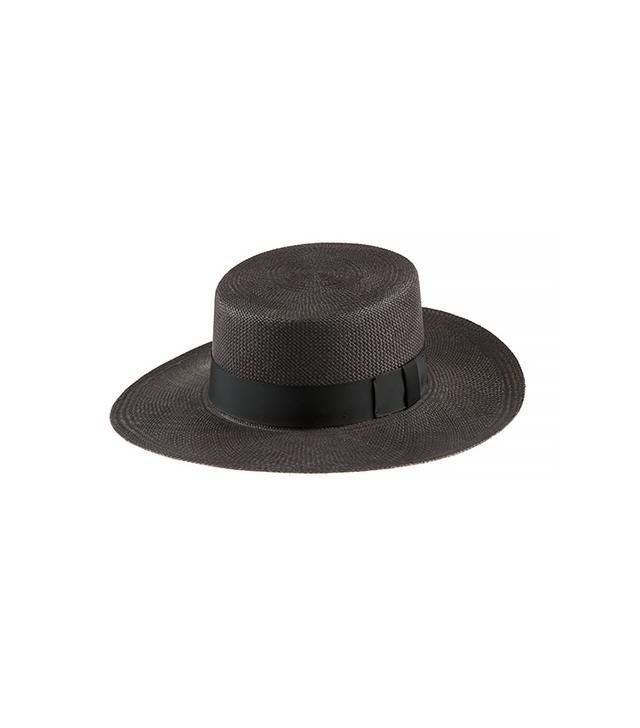 Janessa Leone Jane Black Straw Panama Hat