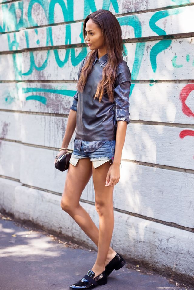 Layered Tops + Denim Cut-Offs + Shiny Loafers = What We Want To Wear Every Weekend