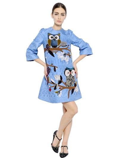 DOLCE & GABBANA EMBROIDERED COTTON BLEND BROCADE DRESS